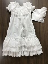 Baby Infant Vintage Baptism Christening Gown w/Bonnet Bryan White Cotton Ruffles