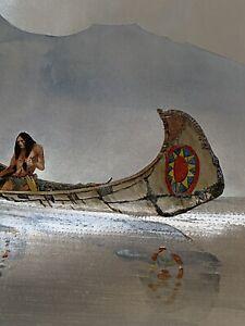 "VINTAGE FOIL ART Native American Fishing In Canoe 8""x6"" Dufex Prints Americana"