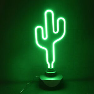 Dekolampe Kaktus mit Neon-Licht Dekoleuchte Kaktee Dekolicht Wüste Kaktuslampe