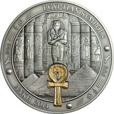 Palau 2014 20$ Egyptian Symbols - Ankh 3oz Gold plated Silver Coin