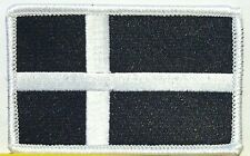DENMARK Tactical Flag Iron-On Patch Black & White MC Biker Military Emblem