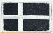 DENMARK Tactical Flag Iron-On Patch Black & White Biker Military Emblem