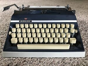 Vintage Adler J5 Navy Blue Quality West Germany Portable Typewriter Works Great