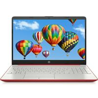"NEW Red HP 15.6"" HD Laptop Intel Pentium Gold 2.4GHz 128GB SSD 4GB RAM Webcam"