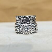 Crystal Solid 925 Sterling Silver Spinner Ring Meditation Statement Jewelry A267