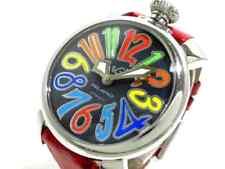 Auth GAGA MILANO MANUALE 40 2020.2 Red ShellBlack 17794 Womens Wrist Watch