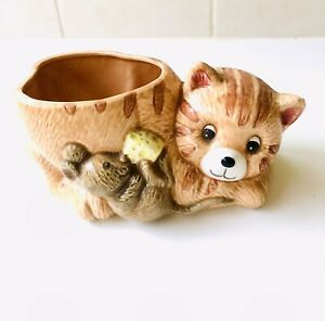 Vintage Cat And Mouse Planter Vase - 1960's - VGC Unused