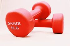 Omnie 8 LBS Neoprene Coated Dumbbell Hand Weight Exercise Fitness Yoga - Pair