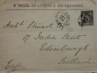 France 1891 25c Aix les Bains to Edinburgh & Newcastle Sorting Tender on Rear