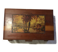 Vtg Wooden Cedar Box Treasure Chest Jewelry Trinket Lake House 10.5x6.75x3.5 in