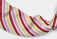 * DOMENICO VACCA * Red/Purple Green Striped 7-Fold Silk Tie Necktie