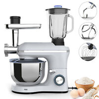 3 in 1 Tilt-Head Stand Mixer w/7QT Bowl 6 Speed 850W Meat Grinder Blender Silver