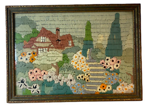 Antique Long-Stitch Needlepoint Cottage in Flower Garden Framed in Antique Frame