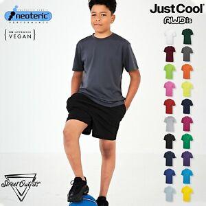 Kids Cool Quick Dry T-Shirt AWDis Sports Lightweight Polyester Top Boys Girls