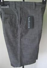 NWT Men's VAN HEUSEN 30W Dress Casual Shorts Gray Flat Front Lightweight Cotton