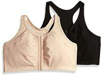 Fruit of the Loom Women's Front Close Racerback (Pack of 2), Sand/Black, Size 36