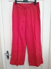 M & S Per Una womens Red Tailored Linen Trousers Size 10 Regular New