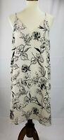 Free Press Womens Sz Large L A Line Dress V neck beige black floral knee length