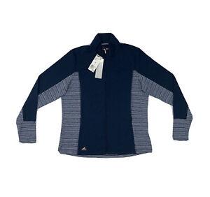 Adidas Pullover Jacket Women's XL Blue Long Sleeve Athletic Sweatshirt Full Zip