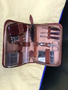 Vintage Brown Leather mens vanity set Grooming Kit Brush Comb Barbers