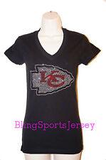 Kansas City Chiefs Jersey Rhinestone Bling T-shirt V-neck