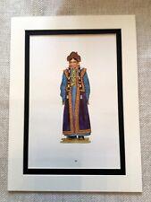 Vintage Fashion Print Mongolian Ethic Uriankhai Girls Clothing Textile Art