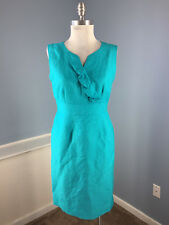 Tahari S 6 P Turquoise Linen Blend Sheath Dress Career Cocktail Excellent Ruffle