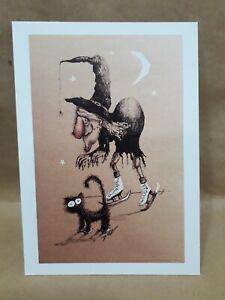 ORIGINAL ARTWORK PRINT BLACK CAT WITCH SKATING MOON INK DRAWING A6 PRINT SIGNED