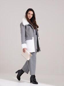 Charcoal Fashion Women's Grey & White Winter Wool Look Coat (015W20)