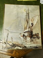 Vintage Clipper Ship Oil Painting  Artistic Interiors Signed