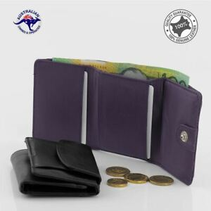 Genuine Leather Trifold Wallet Small Jeans Pocket Wallet Card Holder Coin Purse