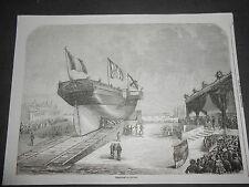 1860 XILOGRAFIA RAFFIGURANTE VARO DELLA NAVE QUIRINAL IN FRANCIA