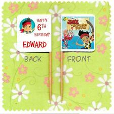 20 PERSONALISED JAKE AND THE NEVERLAND PIRATES CUP CAKE FLAG Topper Birthday