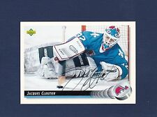 Jacques Cloutier signed Quebec Nordiques 1992-93 Upper Deck hockey card
