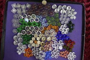 224 pcs LOT OLD CZECH  VINTAGE GLASS CRYSTAL BUTTONS HAND CUT