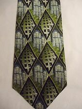 "Structure Tall Building Blue Black Green White Design Silk Tie 58"""