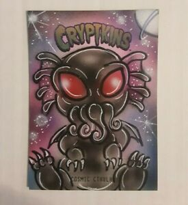 Cryptozoic Cryptkins Sketch Card by Bianca Thompson Cosmic Cthulhu