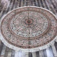 YILONG 8'x8' Round Handmade Silk Carpet Dining Room Antistatic Area Rug WY327A