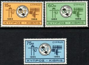 Cyprus 1965 Centenary of  ITU    SG.262/264 Mint (MNH)