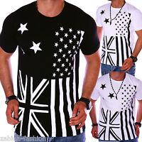 Herren T-Shirt Sommer Top Polo Party USA UK US GB Weiß Schwarz S M L XL t.1.2