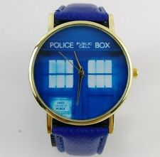 Dr Doctor Who Tardis Wrist Watch Police Box Faux Leather Blue Band to 7plus inch