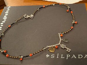 Silpada .925 Sterling Silver Beaded Charm Necklace ~ RARE