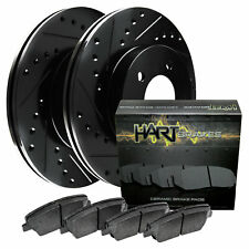 Fits 2003-2011 Lincoln Town Car Front Black Drill Slot Brake Rotors+Ceramic Pads