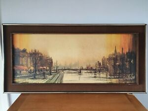 Retro Print by Ron Folland Cafe Quai Paris large landscape original frame 1970's