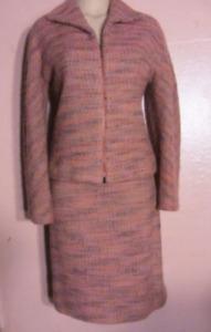 Etcetera Tweed Skirt Suit~Zip Jacket~Space-Dyed Wool/Alpaca Coral Purple~10-12