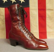 """Vintage 1900's Thompson Bros. Brown Leather Boots Victorian 10"""" Length Antique"""