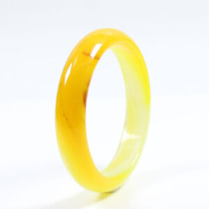 68mm Certified Natural Agate Chalcedony Yellow Brown Jade Bracelet Bangle j3220