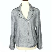 Ann Taylor Loft Outlet Womens Jacket Size Medium M Linen Blend Gray Moto Zipper