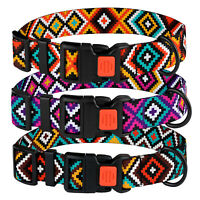 Adjustable Dog Collar Nylon Collars for Dogs Ethnic Design Tribal Pattern S M L