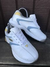 FootJoy 98565 Womens Size 7M White YellowGray Leather Soft Spikes Golf Shoes-486
